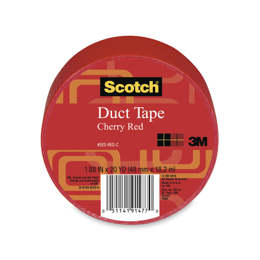 Scotch® Lightweight Colored Duct Tape - 1-7/8 in. x 20-yd. Roll - Red