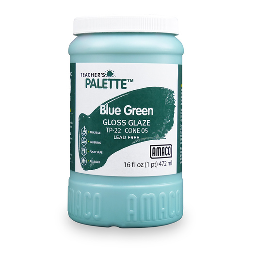 AMACO® Lead-Free Low-Fire Teacher's Palette® Gloss Glaze (Cone 05) - Pint - Blue Green