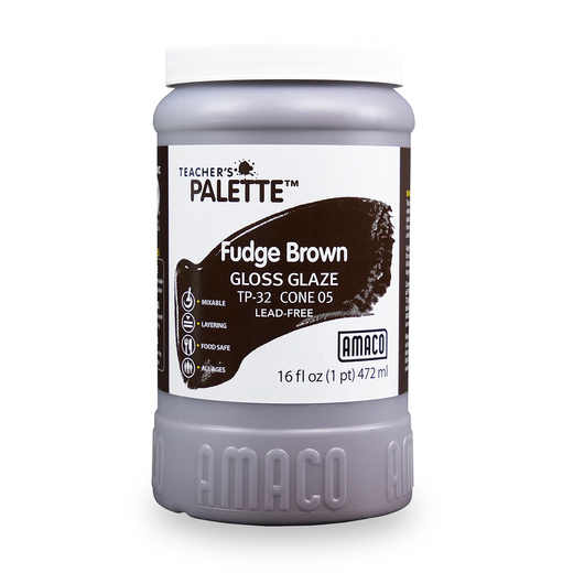 AMACO® Lead-Free Low-Fire Teacher's Palette® Gloss Glaze (Cone 05) - Pint - Fudge Brown
