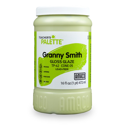 AMACO® Lead-Free Low-Fire Teacher's Palette® Gloss Glaze (Cone 05) - Pint - Granny Smith