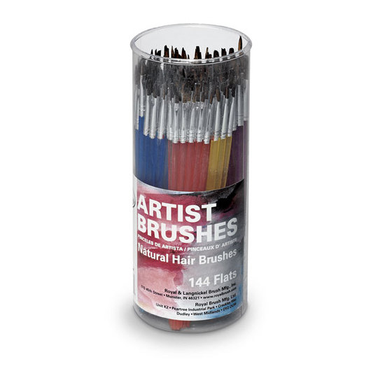 Royal Brush® EconoCanister - Set of 144 Flat - Camel Bristle