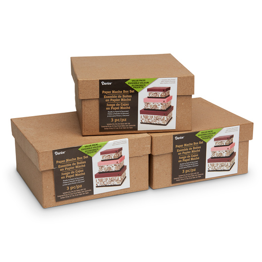 Papier-Mâché Boxes - Set of 3, Square