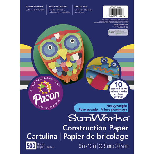 Pacon® SunWorks® Super Value Construction Paper Pack - 500 Sheets - 9 in. x 12 in. - 90 lb.