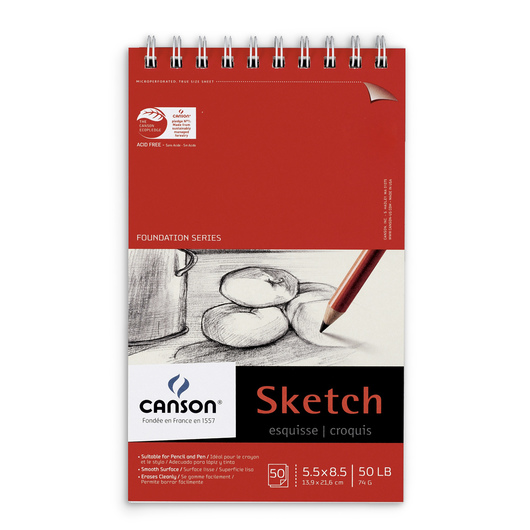 Canson® Foundation Sketch Pad - 5-1/2 in. x 8-1/2 in. - 50 lb.