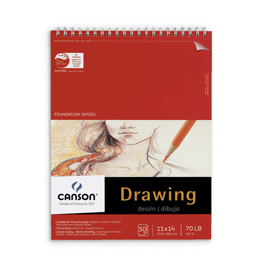 Canson® Foundation Drawing Pad - 11 in. x 14 in. - 30 Sheets - 70 lb.