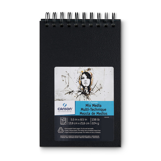 Canson® Mix Media Top Spiral-Bound Art Book - 5-1/2 in. x 8-1/2 in. - 40 Sheets - 138 lb.