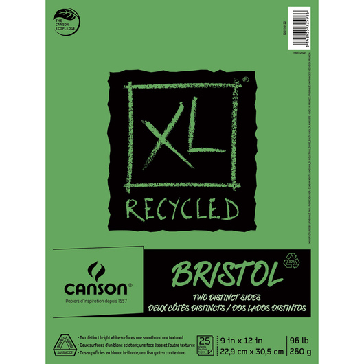 Canson® XL Recycled Bristol Pad - 25 Sheets - 9 in. x 12 in. - 96 lb.