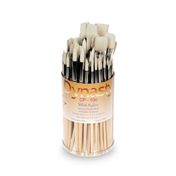 CP-100 Dynasty® White Nylon Round and Flat Assortment - 72 Brushes