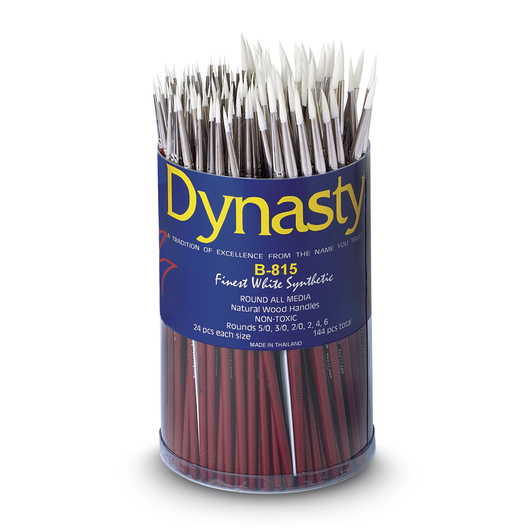 Dynasty® Finest White Taklon Brush Canister - B-815 Set of 144 Rounds