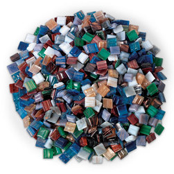Vitreous Glass Mosaic Tiles - 3/8 in. - 1 lb. of Assorted Metallic Colors
