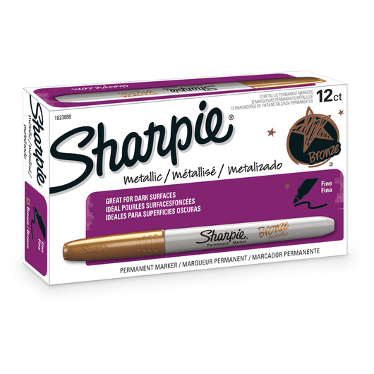 Sharpie® Fine-Point Metallic Permanent Markers - Box of 12 Bronze Markers