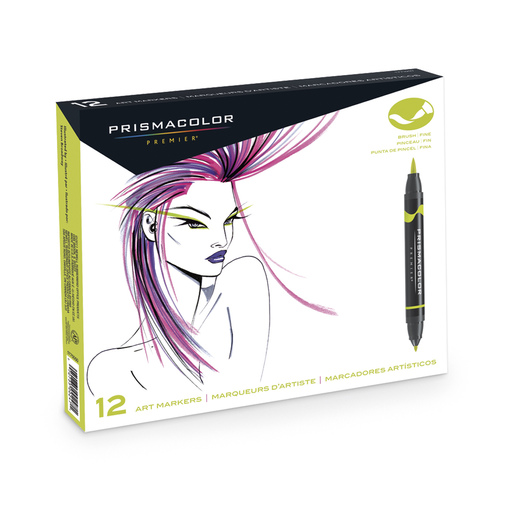 PRISMACOLOR® Premier® Double-Ended Brush/Fine Art Markers - Primary and Secondary Set of 12
