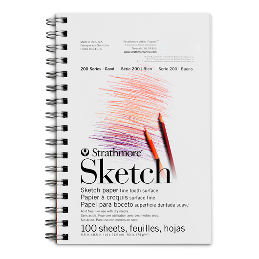 Strathmore® 200 Series Spiral Bound Sketch Pad - 5-1/2 in. x 8-1/2 in. - 100 Sheets - 50 lb.