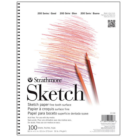 Strathmore® 200 Series Spiral Bound Sketch Pad - 8-1/2 in. x 11 in. - 100 Sheets - 50 lb.
