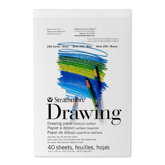 Strathmore® 200 Series Drawing Pad - 40 Sheets - 5-1/2 in. x 8-1/2 in. - 64 lb.