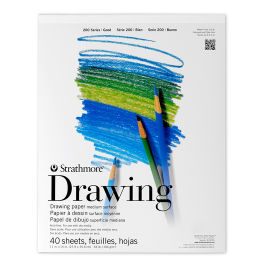 Strathmore® 200 Series Drawing Pad - 40 Sheets - 11 in. x 14 in. - 64 lb.