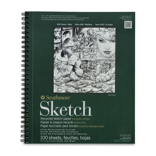 Strathmore® 400 Series Recycled Sketchbook - 11 in. x 14 in. 100 Sheets - 60 lb.