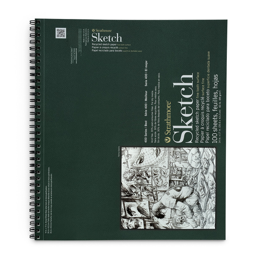 Strathmore® 400 Series Recycled Sketchbook - 14 in. x 17 in. 100 Sheets - 60 lb.