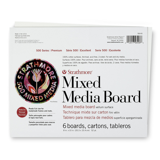Strathmore® 500 Series Mixed Media Board - 8 in. x 10 in. - 52 pt. Sheet - Pkg. of 6