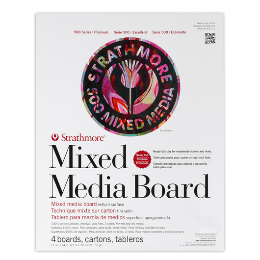 Strathmore® 500 Series Mixed Media Board - 11 in. x 14 in. - 52 pt. Sheet - Pkg. of 4