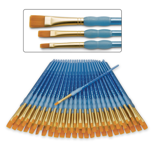 Royal Brush® Scholastic Choice Brushes - Set of 72 - Golden Taklon Shaders