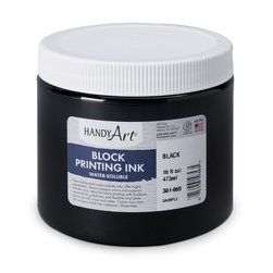 Handy Art® Water-Soluble Block Ink Set Black - 16oz. Jar