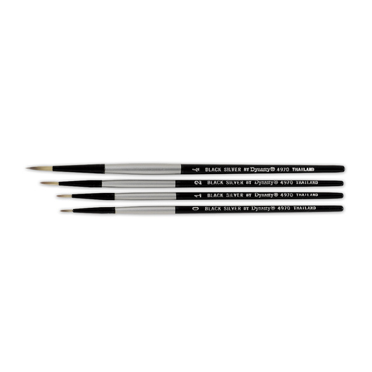 Black Silver by Dynasty® Synthetic Brushes - Set of 4 Rounds