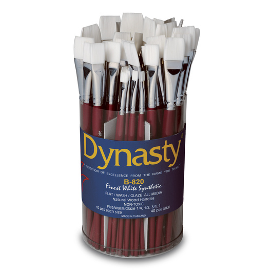 Dynasty® White Taklon Brush Canisters - B-820 Set of 40 Brushes