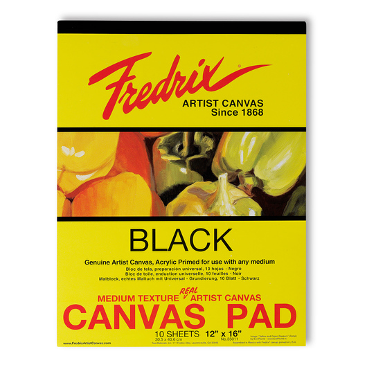 Fredrix® Black Canvas Pad - 12 in. x 16 in. - 10 Sheets