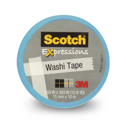 Scotch® Expressions Washi Tape - 9/16 in. x 393 in. Roll - Light Blue