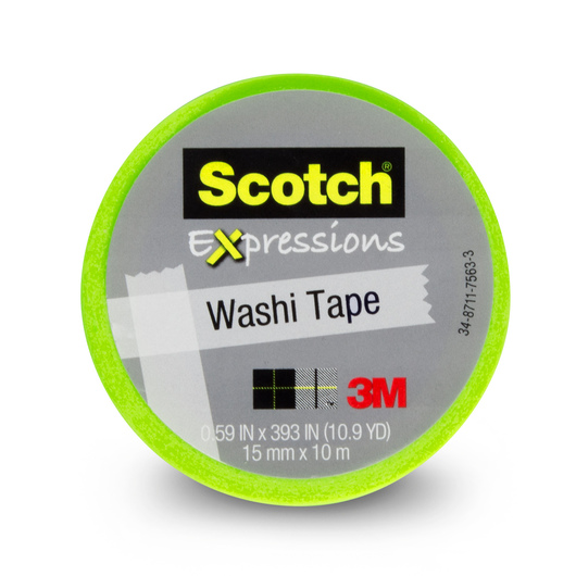 Scotch® Expressions Washi Tape - 9/16 in. x 393 in. Roll - Lime Green