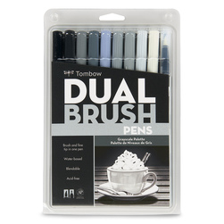 Tombow Dual Brush Pens - Pkg. of 10 - Grayscale Palette