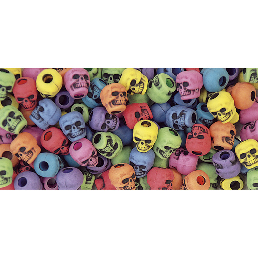 Multicolored Skull Beads - 1/4-lb. Bag