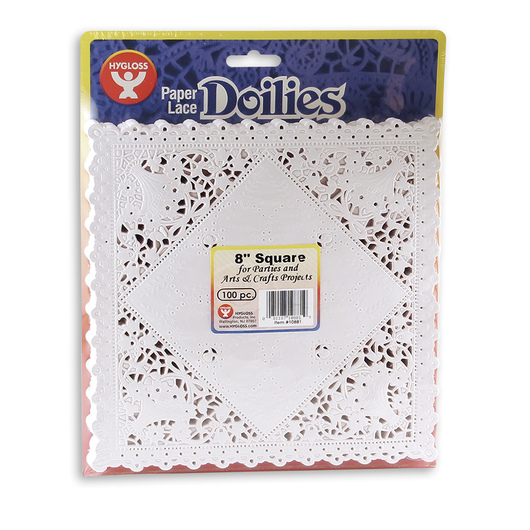 8 in. White Square Paper Lace Doilies - Pack of 100
