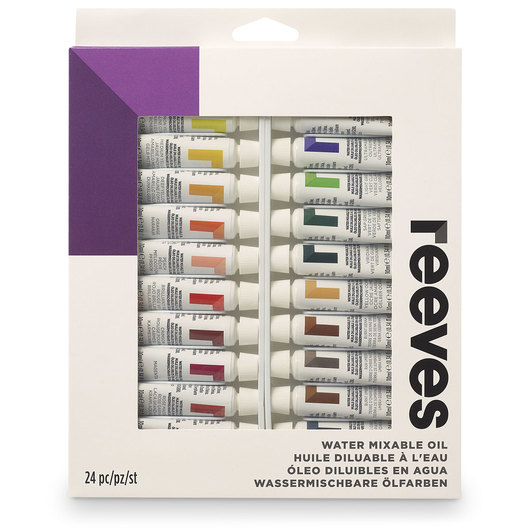 REEVES Water-Mixable Oil Paint - 10 ml (0.34 oz.) - Set of 24