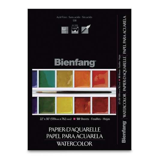 Bienfang® School-Grade #538 pH Neutral Watercolor Paper - 22 in. x 30 in. - Pkg. of 50 - 140 lb.