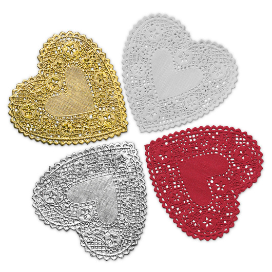 4 in. Red, White, Silver, and Gold Heart Paper Lace Doilies - Pack of 100