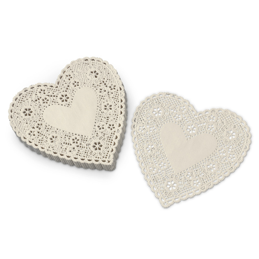 6 in. White Heart Paper Lace Doilies - Pack of 100