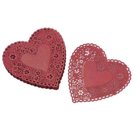6 in. Red Heart Paper Lace Doilies - Pack of 100