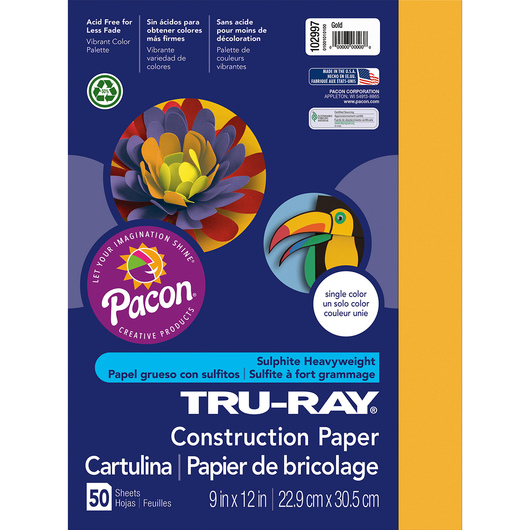 Tru-Ray® Fade-Resistant Construction Paper - 1,250 Sheets - 12 in. x 18 in. - 76 lb. - Gold