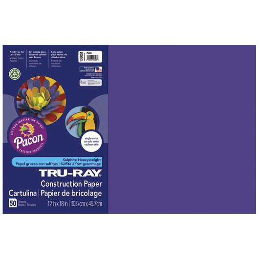 Tru-Ray® Fade-Resistant Construction Paper - 1,250 Sheets - 12 in. x 18 in. - 76 lb. - Purple