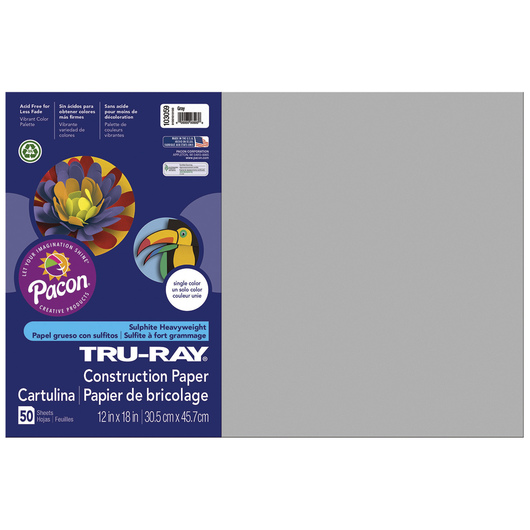 Tru-Ray® Fade-Resistant Construction Paper - 1,250 Sheets - 12 in. x 18 in. - 76 lb. - Gray
