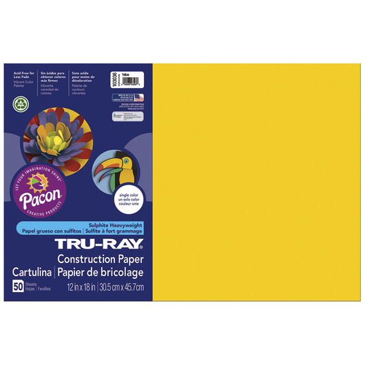 Tru-Ray® Fade-Resistant Construction Paper - 1,250 Sheets - 12 in. x 18 in. - 76 lb. - Yellow