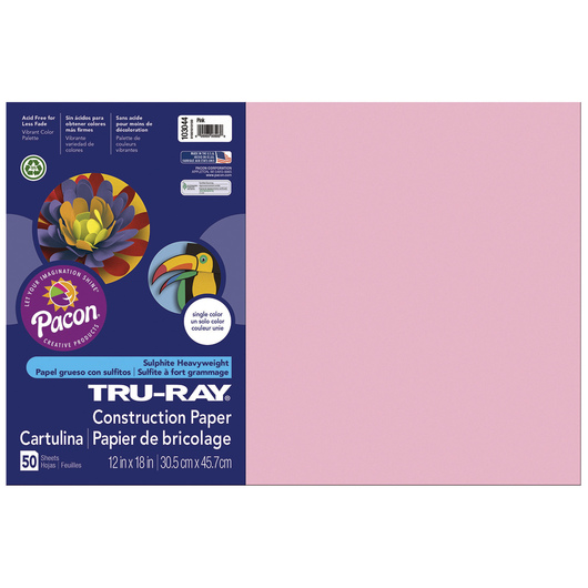 Tru-Ray® Fade-Resistant Construction Paper - 1,250 Sheets - 12 in. x 18 in. - 76 lb. - Pink