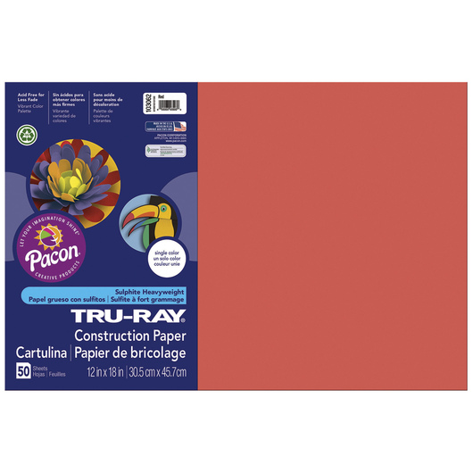 Tru-Ray® Fade-Resistant Construction Paper - 1,250 Sheets - 12 in. x 18 in. - 76 lb. - Red
