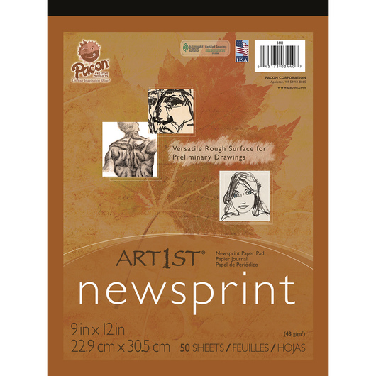 Pacon® Art1st® Newsprint Pads - 50 Sheets - 48 gsm - 9 in. x 12 in.