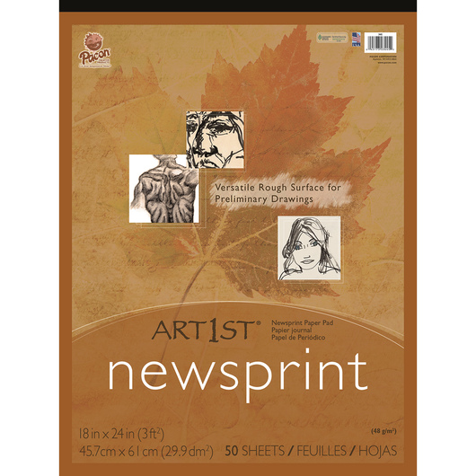 Pacon® Art1st® Newsprint Pads - 50 Sheets - 48 gsm - 18 in. x 24 in.