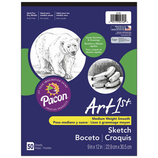 Pacon® Art1st® Sketch Pads - 50 Sheets - 94 gsm - 9 in. x 12 in.