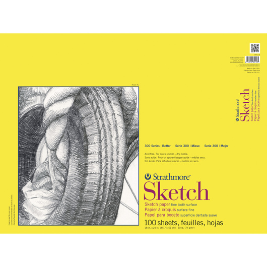 Strathmore® 300 Series Tape-Bound Sketch Pad - 18 in. x 24 in. - 50 lb. - 100 Sheets