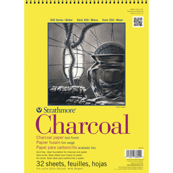 Strathmore® 300 Series Charcoal Spiral-bound Pad - 9 in. x 12 in. - 64 lb.